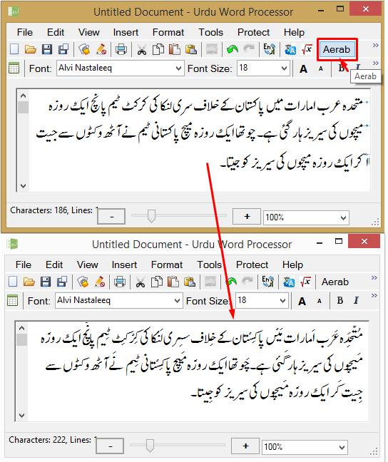 Urdu Word Processor | Aerab Demo